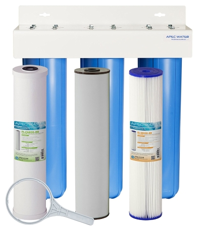 APEC 3-Stage Whole House Water Filter System with Iron, Sediment and Chlorine Filters - CB3-SED-IRON-CAB20-BB