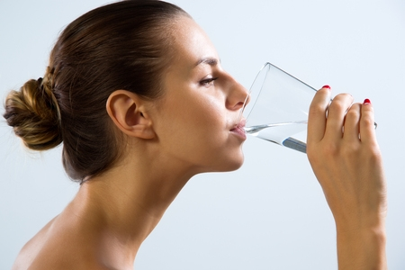 Close Up of Woman Drinking Water