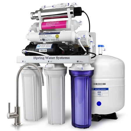 iSpring RCC1UP-AK 7-Stage Maximum Performance 100 GPD Under-Sink Reverse Osmosis Drinking Water Filtration System