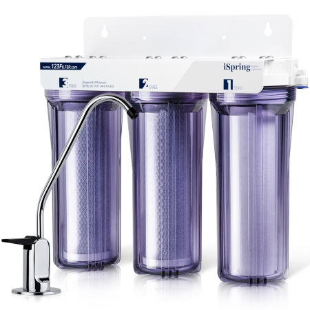 iSpring WCC31 3-Stage Under Sink High Capacity Tankless Drinking Water Filtration System